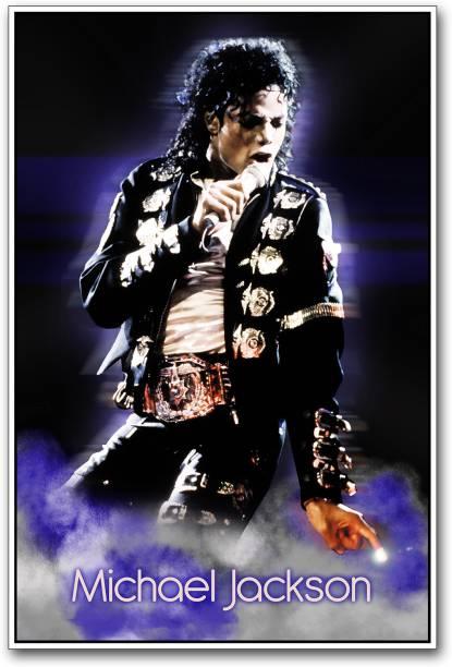 Michael Jackson singing Paper Print