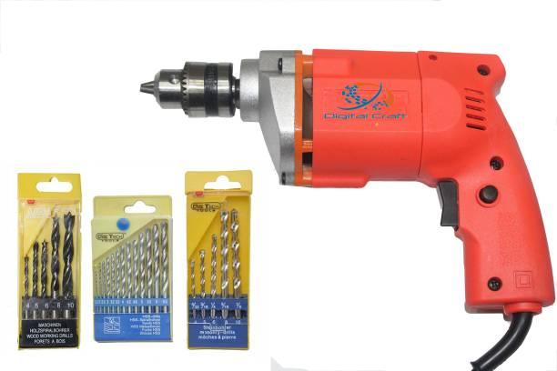 Digital Craft DGC-DM-CMBO 10Mm Drill Machine +13Pcs Hss Drill Set For Wood,Metal,Plastic & 5Pcs Masonary Drill Set For Wall,5Pc Wood Drill Bits Sets Pistol Grip Drill