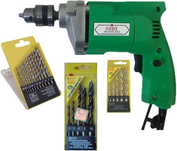 HAWK V-ONE 10Mm Drill Machine +13Pcs Hss Drill Set For Wood,Metal,Plastic & 5Pcs Masonary Drill Set For Wall,Concretes Pistol Grip Drill
