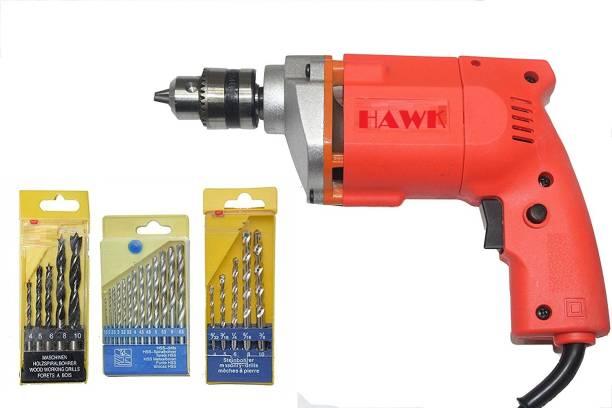 HAWK 10Mm Drill Machine +13Pcs Hss Drill Set For Wood,Metal,Plastic & 5Pcs Masonary Drill Set For Wall,Concretes Pistol Grip Drill