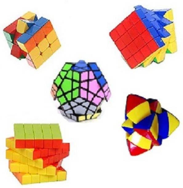 Mayatra's Combo Of Master Pyramorphix ,3x3, 4x4 ,Shengshou Megaminx & 5x5 Stickerless Cube