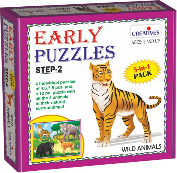 Creatives Early Puzzles Step 2 – Wild Animals ( 5 in 1 for ages 3 and above)
