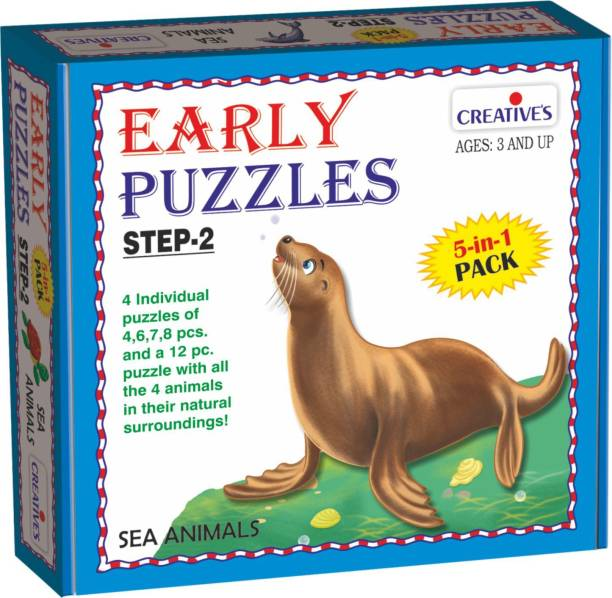 Creatives Early Puzzles Step 2 – Sea Animals ( 5 in 1 pack for ages 3 & above)