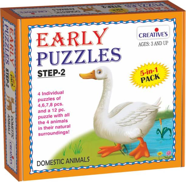 Creatives Early Puzzles Step 2 – Domestic Animals ( 5 in 1 pack for ages 3 & above)