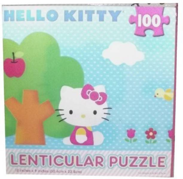 fc152fe2a Cardinal Industries Kitty Blue Lenticular Puzzle:Hello Kitty Sitting By Tree