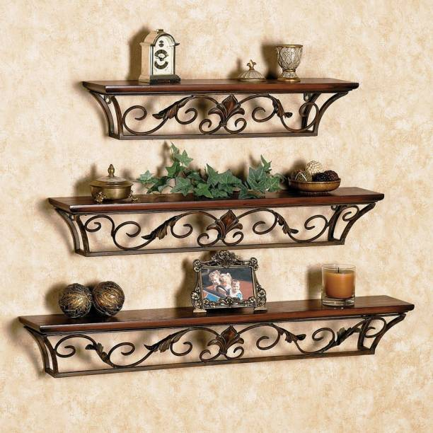 Decorhand Iron, Wooden Wall Shelf