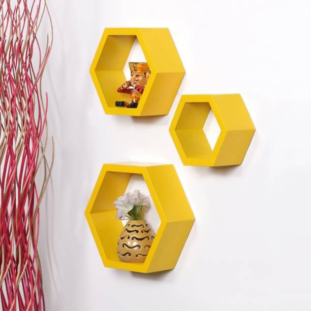 DriftingWood Hexagon Shape Mounted Set Of 3 Rack Shelves/Shelf High Quality Wooden Home Decor Wall Shelf Wooden Wall Shelf