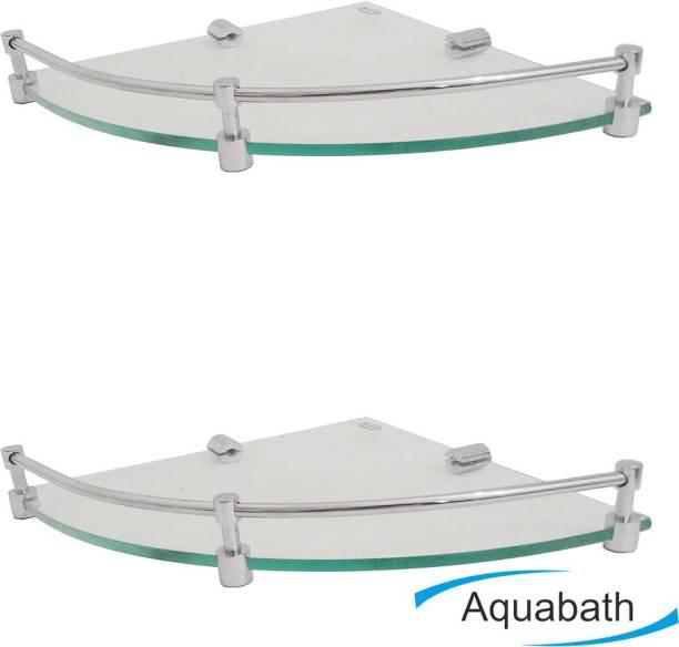 Aquabath ROUND Corner PACK OF 2 8x8 With Brass Material Brass, Glass Wall Shelf
