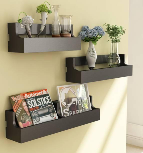 HOME SPARKLE Set of 3 Pocket MDF  Medium Density Fiber  Wall Shelf Number of Shelves   3, Black