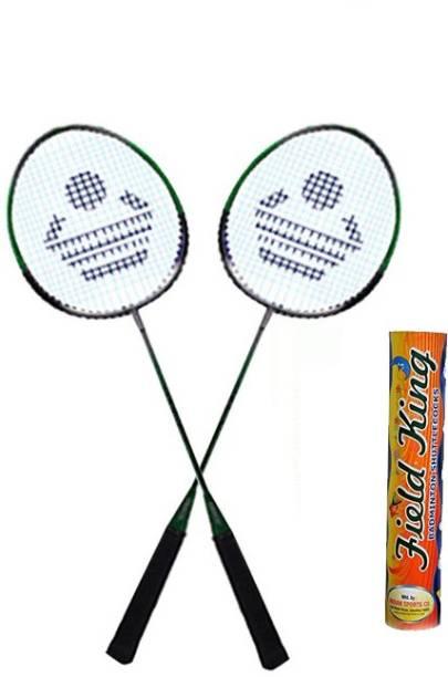 Cosco CB 88 Badminton Racket Pair With Field King Badminton Shuttle Cock   Pack of 10    Badminton Kit Multicolor Strung Badminton Racquet Pack of: 2,