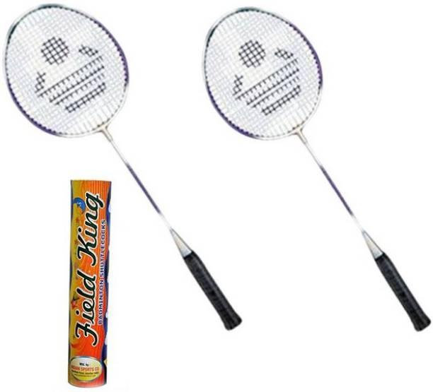 Cosco CB 885 Badminton Racket Pair With Field King Badminton Shuttle Cock   Pack of 10    Badminton Kit Multicolor Strung Badminton Racquet Pack of: 2
