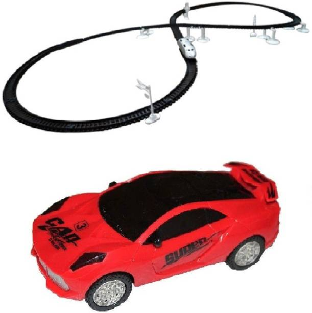 NEW PINCH Musical 3D Lights car with High Speed Train Toy Set With Flyovers Track