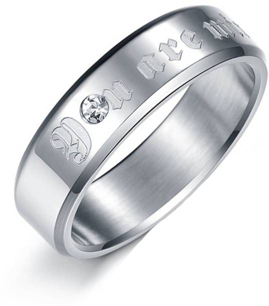 Aaishwarya You Are Mine' Engraved Finish Mens Promise Band Stainless Steel Crystal Silver Plated Ring