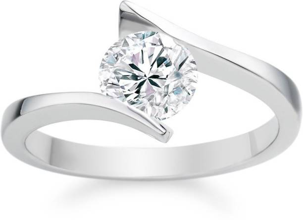 48cd56050 RM Jewellers 92.5 Solitaire Silver Cubic Zirconia Platinum Plated Ring