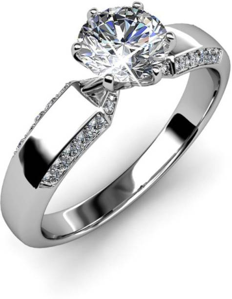 a80299f48 RM Jewellers 92.5 Glorious Princess Silver Cubic Zirconia Platinum Plated  Ring
