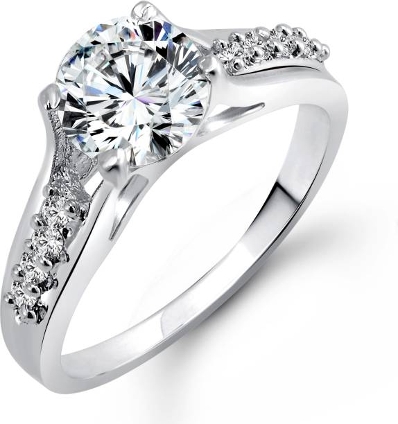 Vighnaharta Engagement Alloy Cubic Zirconia 18k White Gold Plated Ring