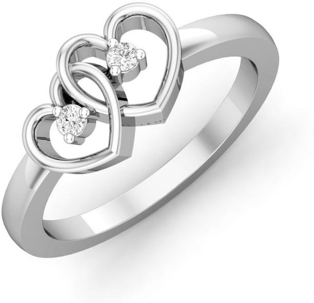 Chandrika Pearls Metal Diamond Platinum Plated Ring