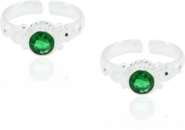 e159b2280 Frabjous Green Zircon Free Size German Silver Toe Ring Alloy Emerald Toe  Ring