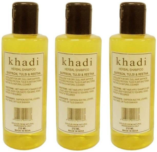 Khadi Herbal Saffron, Tulsi & Reetha Shampoo pack of 3
