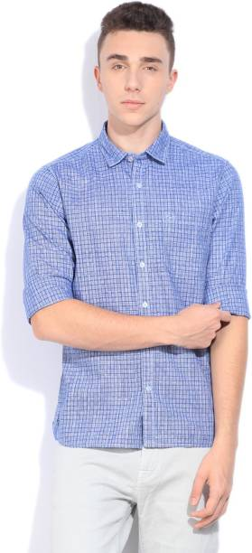 Scullers Men Checkered Casual Blue Shirt