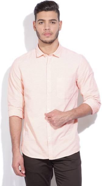 Scullers Men Striped Casual White, Orange Shirt