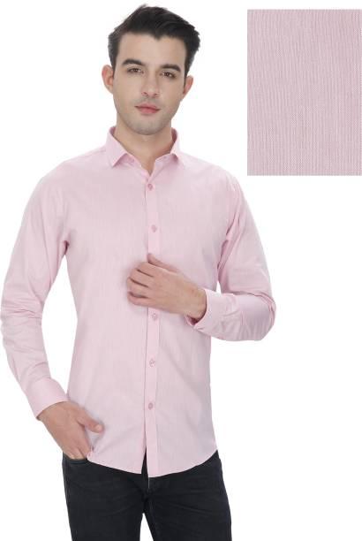 Enf Mens Solid Casual Pink Shirt