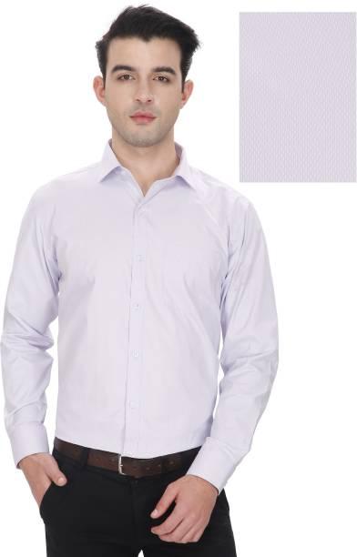 Enf Mens Self Design Formal White Shirt