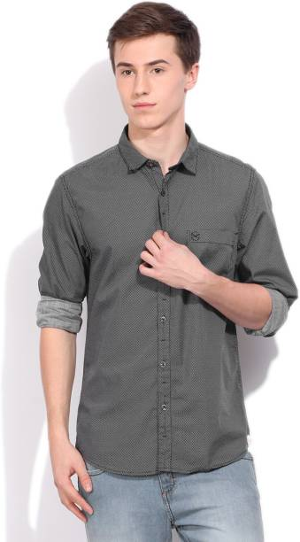 Scullers Men Printed Casual Black Shirt