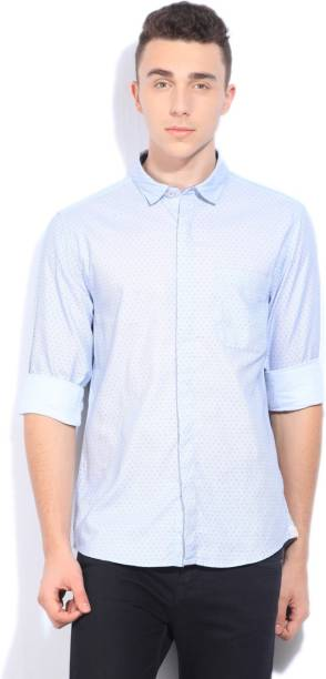 Scullers Men Printed Casual Blue Shirt