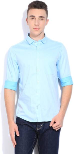 Scullers Men Solid Casual Light Blue Shirt
