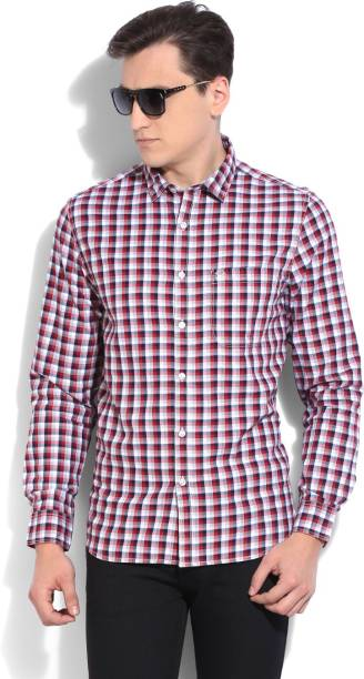 Scullers Men Checkered Casual Dark Blue, Red Shirt