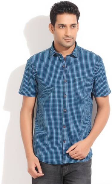 Scullers Men Checkered Casual Green Shirt