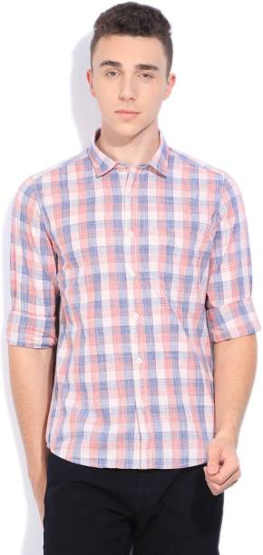 Scullers Men Checkered Casual Blue, Orange Shirt