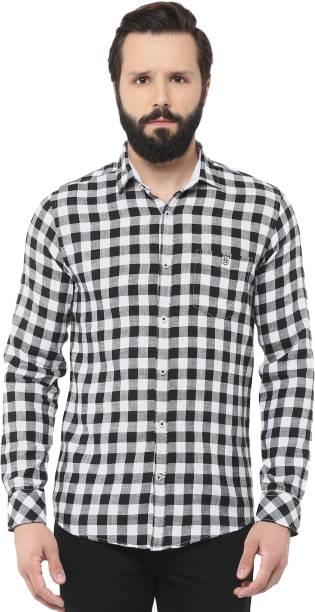 d9ae1db726e Speak Men s Checkered Casual Black Shirt