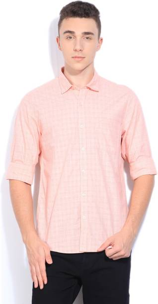 Scullers Men Checkered Casual Orange Shirt