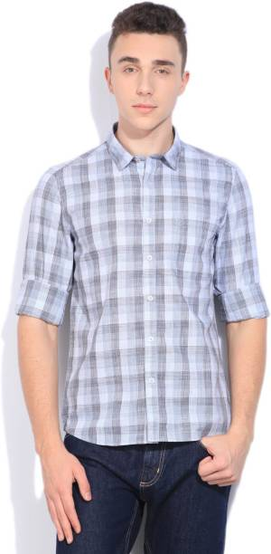 Scullers Men Checkered Casual White, Black Shirt