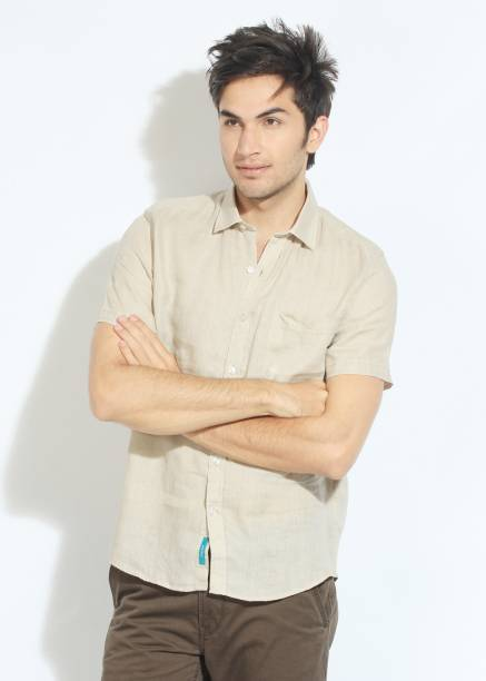 Scullers Men Solid Casual Beige Shirt