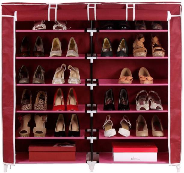Pindia Fancy 6 Layer Double Maroon Shoe Rack Organizer Polyester Collapsible Shoe Stand