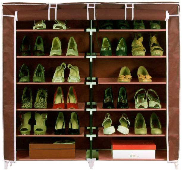 Pindia Fancy 6 Layer Double Brown Shoe Rack Organizer Polyester Collapsible Shoe Stand