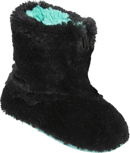16ab9fe232c Dearfoams Dearfoams Plush Boot Slipper with Half Zip Black Boots For Women