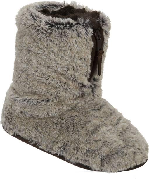 62d76d7659a Dearfoams Dearfoams Plush Boot Slipper with Half Zip Brown Boots For Women