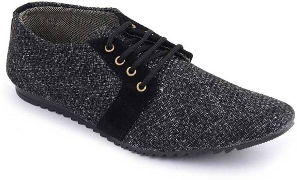 7b99de76acd7b Oora OORA Stylish Black Color Jute Casual Laceup Shoes for Men Casuals For  Men