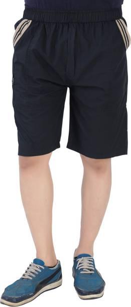 Cotton-Rush Self Design Men Black Cargo Shorts