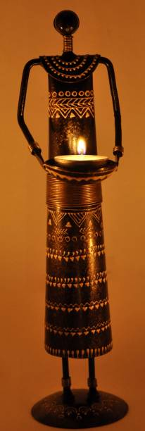 Lal Haveli Decorative Candle Tealight Holder Stand Iron Table Showpiece Handicraft Decorative Showpiece  -  30.48 cm