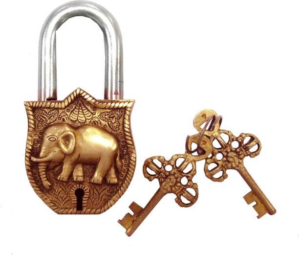 Aesthetic Decors Elephant Design Decorative Lock Showpiece 11 5 Cm
