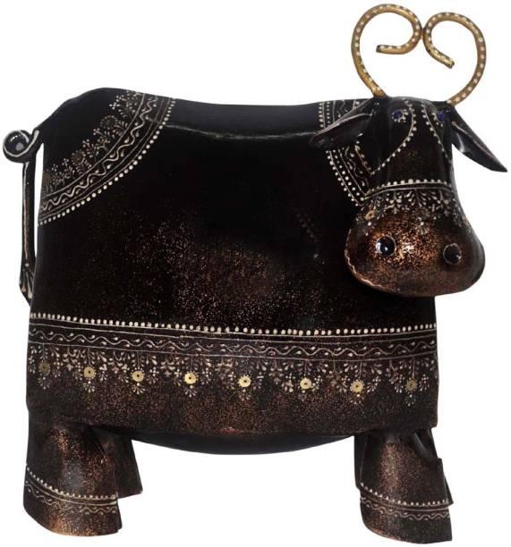 Lal Haveli Decorative Hand-painted Cow Statue Handicraft Iron Decorative Showpiece  -  20.32 cm