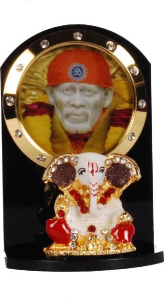Sigaram Ganesha & Sai Baba For Car Dashboard, Table or Ofice-Desk, Shops and Homes - K275 Decorative Showpiece  -  7 cm