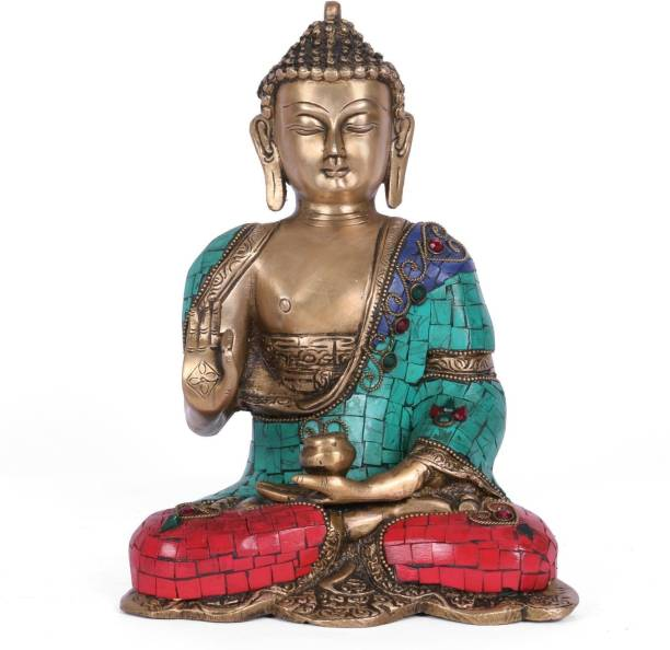 Collectible India Big Vitarka Turquoise Brass Buddha Statue