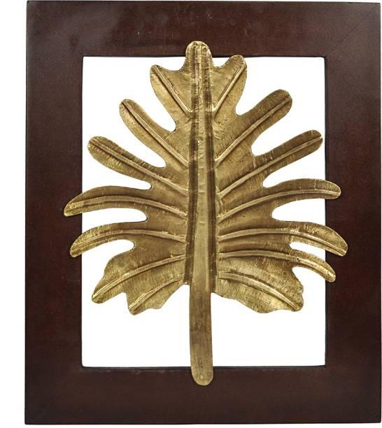 Lal Haveli Ethnic Wall Decor Golden Leaf Wooden Frame Decorative Decorative Showpiece  -  33 cm