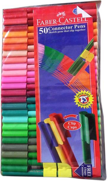 FABER-CASTELL 50 Connector Medium Point Tip Nib Sketch Pens  with Washable Ink